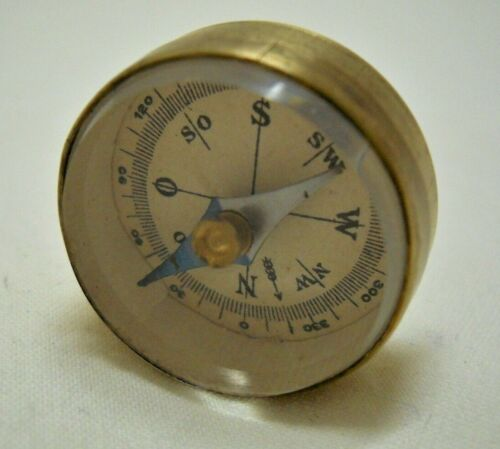 Antique Vintage Miniature Brass Compass Made in Germany