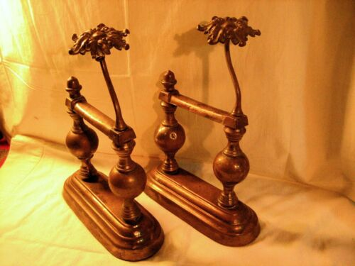 PAIR ORNATE ANTIQUE CAST IRON & BRASS FIREPLACE TOOL POKER RESTS DOOR STOPS