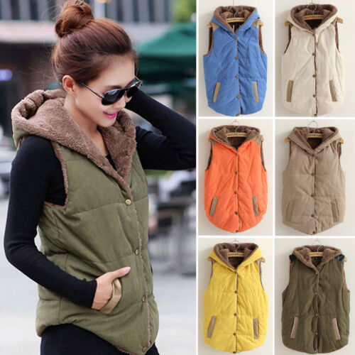 Womens Ladies Vest Sleeveless Hooded Quilted Gilet Body Warmer Button Waistcoat