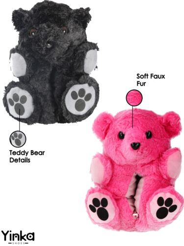 Ladies Girls Teen Novelty Faux Fur Plush 3D Animal Teddy Bear Bootie Slippers