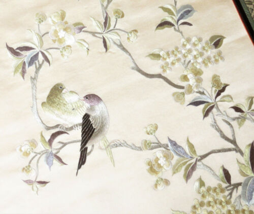 Antique Chinese Silk Embroidery w/ Birds & White Flowers