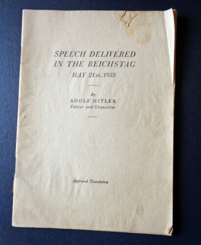 Speech Delivered in the Reichstag May 21st 1935 Approved TranslationNon-Fiction Books - 171243