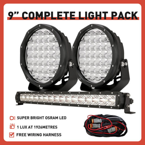 OSRAM Pair 9inch LED Driving Spot Lights + 22inch Slim LED Light Bar Combo Black <br/> Free Wiring Harness! 1LUX @ 1926m! No Effect on Radio!