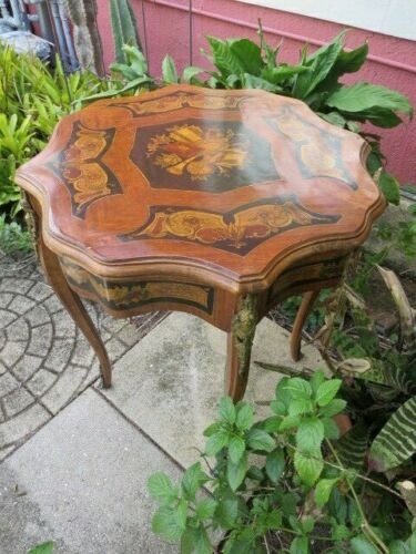 """Antique French Brass Hand Painted Inlay Center Table Stand 32"""" tall"""
