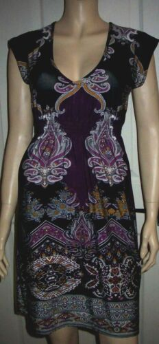 NEW LOOK Multi Colour Short Sleeve V Neck Cocktail  Party Dress Size 12