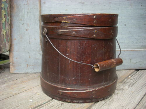Antique 19th C FIRKIN Lidded Bucket Pail Lapped Bands Copper Tacks Bail Handle