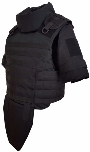 XL Long Black Full Body Armor Plate Carrier MOLLE Vest IIIA made with Kevlar incOther Current Field Gear - 36071