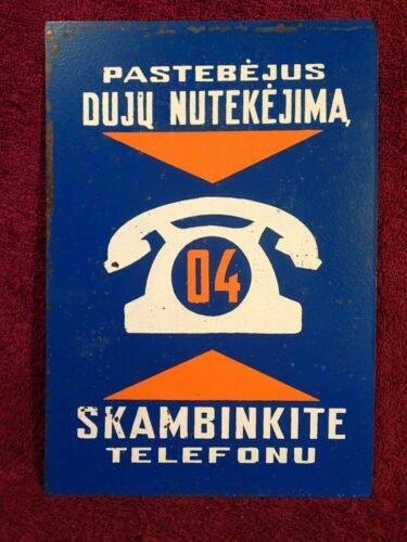 VINTAGE RETRO 1950/70 - s PAINTED TIN SIGN GAS EMERGENCY 04 TELEPHONE LITHUANIAN