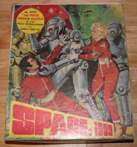"""VINTAGE 1970's SPACE 1999 JIGSAW PUZZLE 14"""" X 10"""" SCI-FI TV 497-03 COMPLETE GOOD"""