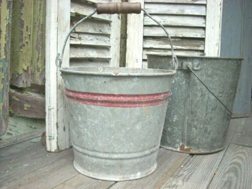 Antique Small #8 Galvanized Bucket - Red Stripe Pail - Wood Bail Handle