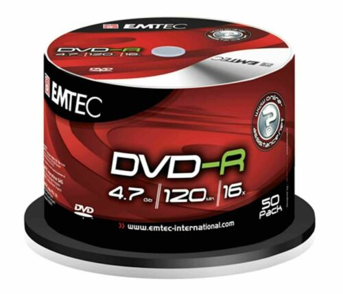 50 pack Emtec Recordable Series Blank DVD-R 4.7GB 16X 50 Silver Discs Spindle LA