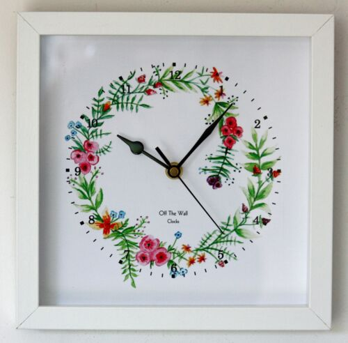 NEW 25cm Floral Wall Clock - Country Kitchen Flowers Watercolour Handmade Gift