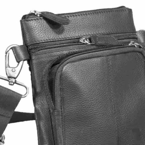 Casual Small Black Leather Messenger Bag