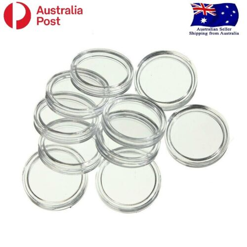 10 x 20.5mm Clear Coin Capsule Display Case Holder
