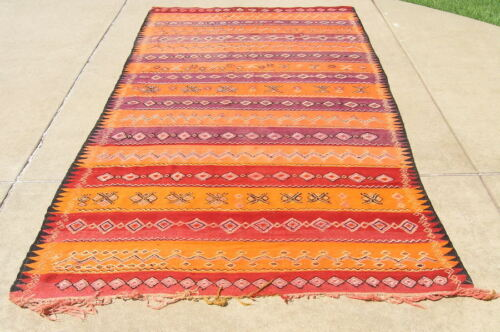 "Antique Berber Moroccan Flat Woven Rug Kilim Embroidery 68x145"" Geometric Design"