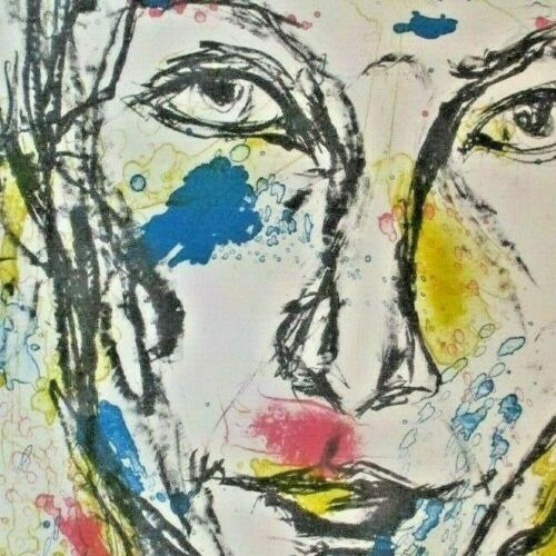 """Vintage Bright Outsider Watercolor Sketch """"Self in a Good Mood"""" Art Print Signed"""