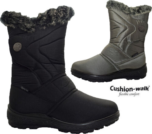Womens Snow Winter Boots Mid Calf Fur Lined Ladies Fashion Warm Grip sole Shoes