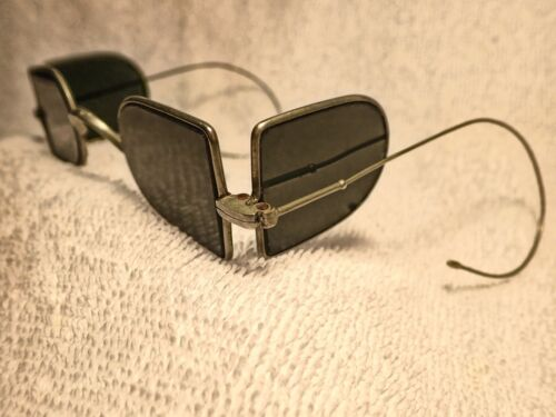 """1880'S """"DOUBLE D"""" RAILROAD OR CARRIAGE GLASSES WITH BLUE GRAY LENSES"""