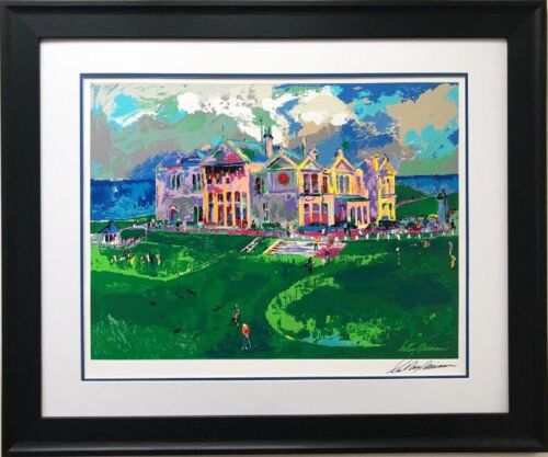 """LeRoy Neiman """"Clubhouse at Old St Andrews"""" Signed Framed Art Serigaph Scotland"""