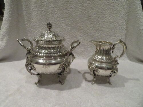 Outstanding french sterling silver sugar bowl & creamer Louis XVI st Boulenger