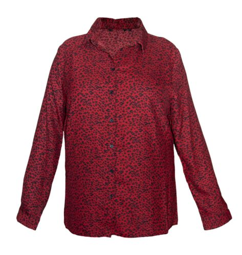 Ex- Peacocks New Women's Shirt Red Black Animal Leopard Print Buttons Blouse