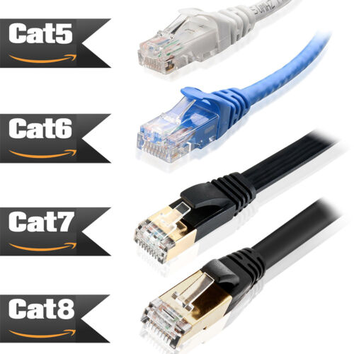 UL Rated CAT 8 7 6 Ethernet Cable with Gold Plated Shielded RJ45 Connectors Lot