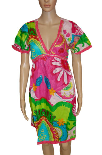 NEW! NYL Pink Multi Tropical Sparkly Sequins Floral Knee Length Dress Size 8 10