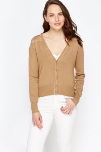 Womens Short Glitter Panel Cardigan Long Sleeve Brown Camel Colour Christmas
