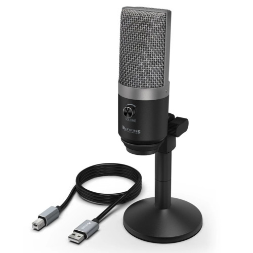 Fifine Podcast Microphone USB with Headphone Monitoring 3.5mm Jack and Pluggable
