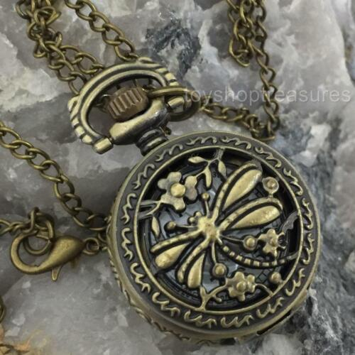 Antique Brass Style Dragonfly Pendant Pocket Watch Necklace