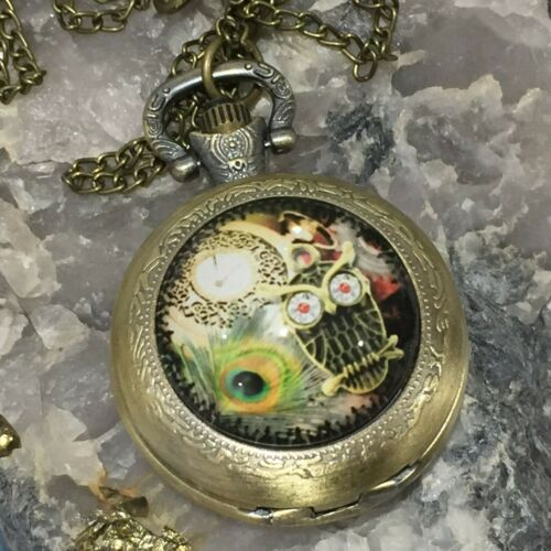 New Owl Pocket Watch Pendant Necklace Peacock Feather Antique Brass