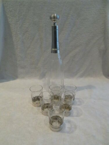 1910 french crystal & sterling silver aperitif goblets 7,5cl, decanter Louis XVI