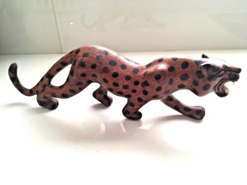 Vintage Hand Carved and Painted  Wooden Leopard 33cm