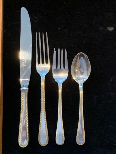 KIRK GOLDEN WINSLOW STERLING SILVER SET FOR 8 SETTINGS WITH GOLDEN ACCENTS