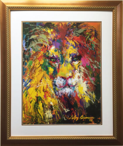 "LeRoy Neiman ""Portrait of a Lion"" Newly CUSTOM FRAMED Art Lithograph ANIMAL OOP"