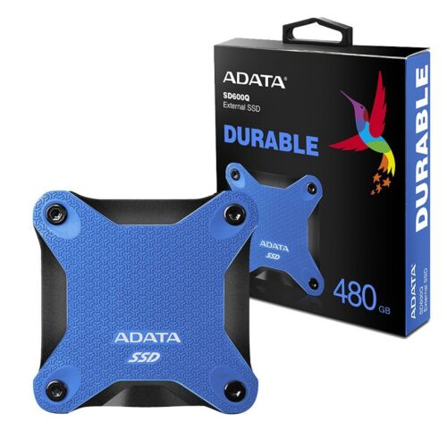 Adata 480GB Ultra-Speed External Solid State Drive Shock Resistance USB3.1 Blue