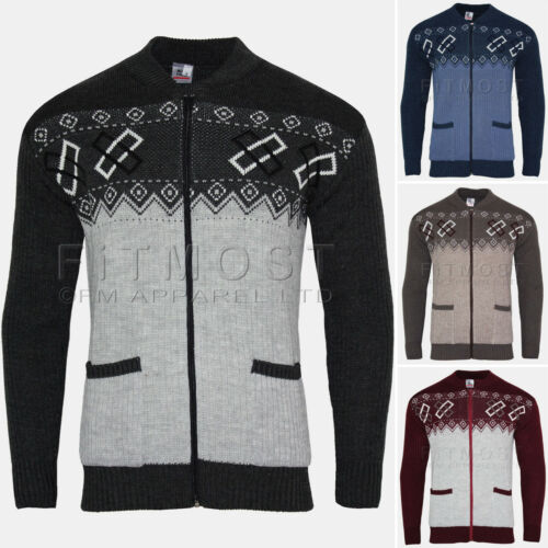 Mens Knitted Cardigan Zip Front Classic Aztec Style Two Tone Front Pocket Top
