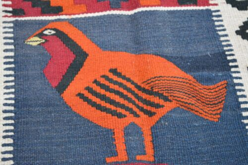 Vintage Antique (FREE SHIPPING) AFGHAN TROPICAL PET LOVER MAIMANA RUG
