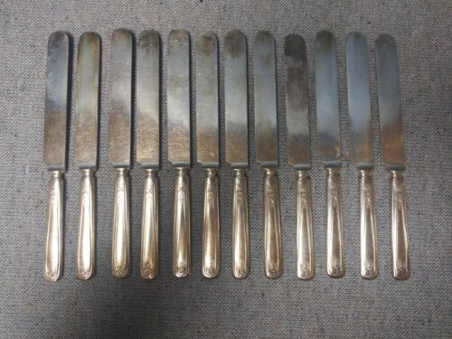 12 Blunt Knives 1881 Rogers A-1 Silverplate Chippendale Adair Pattern 1919