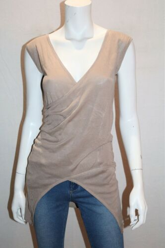 blank canvas Beige Silk Bamboo Wrap Front Sleeveless Top Size XS BNWT #SF107