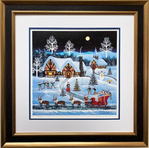 """Jane Wooster Scott """"North Pole Countdown"""" Framed Signed & # Litho  Xmas Art"""