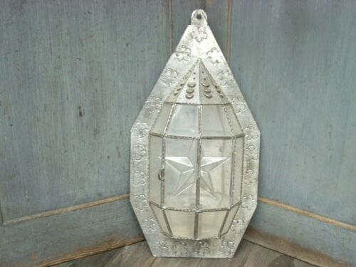"""Vintage Primitive Punched Tin STAR Lantern Candle Holder Wall Sconce 19"""" Tall"""