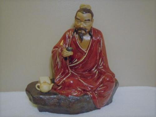 HUGE ANTIQUE VINTAGE CHINESE MUDMAN SCHOLAR DRINKING TEA STATUE FIGURE SIGNED