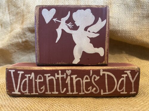 Distressed Cupid Valentine's Day 2p Tiered Tray Shelf Sitter Wood Block Set