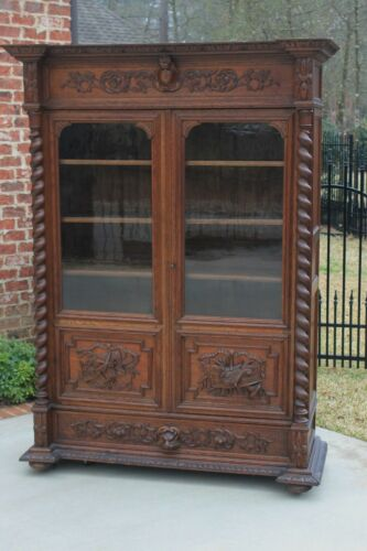 Antique French Barley Twist Bookcase Oak Cabinet w Drawer Renaissance Revival