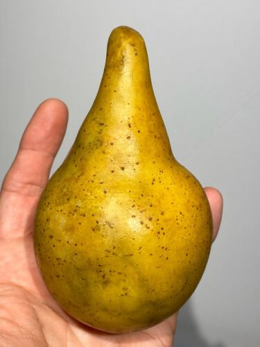 "Early Italian Stone Fruit Oversize 5"" Exceptional Alabaster Amazing Odd Pear"