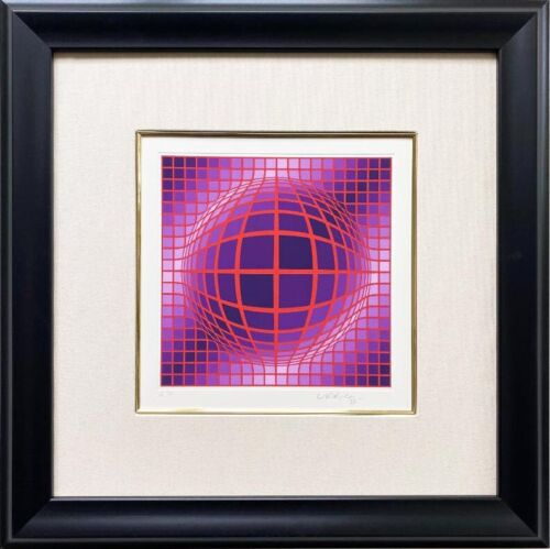 "Victor Vasarely  ""Abstract- Sphere I"" Hand Signed & #AP Serigraph FRAMED Art"