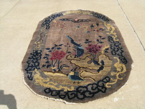 "Antique Chinese Art Deco Oriental Rug Birds Dragon Cherry Trees 50x80"" Oval"