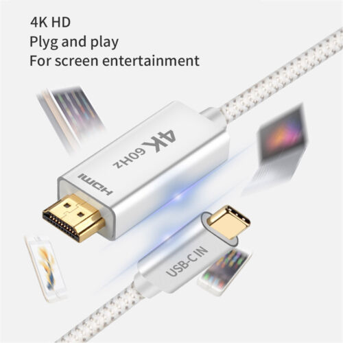 USB 3.1 Type C USB-C to 4K@60Hz HDMI Adapter Cable for 2019 MacBook Samsung S20+