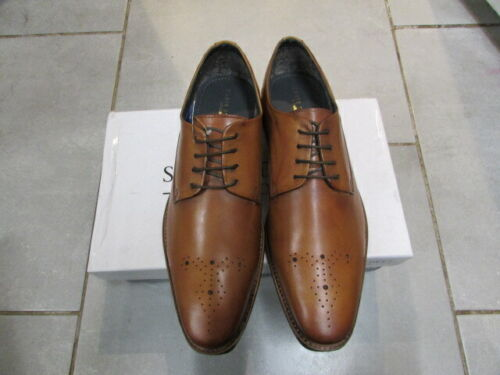 MENS TAN LEATHER LACE UP SHOE BROGUE FRONT SIZE 9